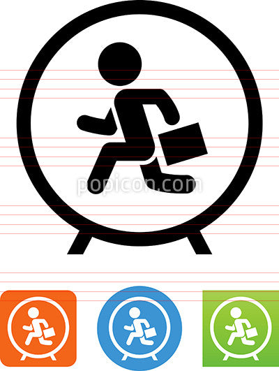 Man Running In Hamster Wheel Icon