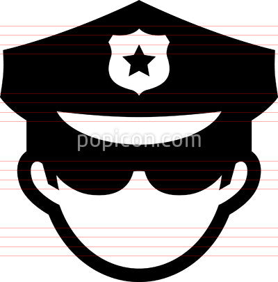 Man Wearing Policeman's Hat Icon