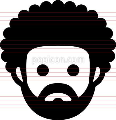 Man With Afro Haircut And Beard Icon