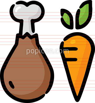 Meats And Veggies Hand Drawn Icon