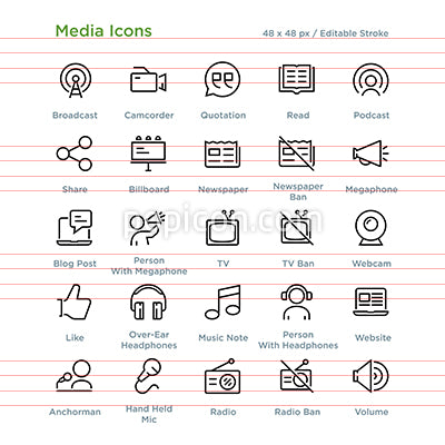 Media Icons - Outline