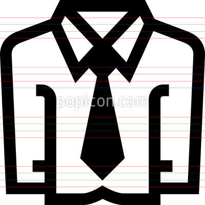 Mens Dress Shirt Necktie Vector Icon