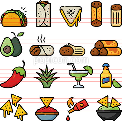 Mexican Foods Hand Drawn Icon Set