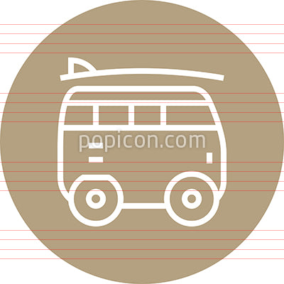 Microbus Camper With Surfboard Outline Icon