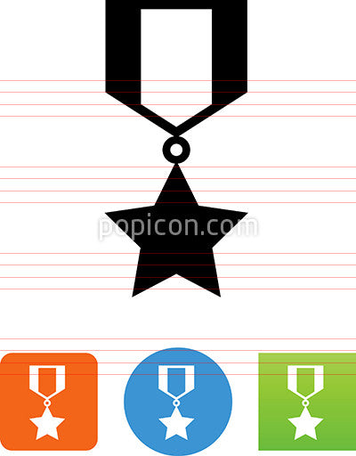 Military Ribbon With Star Icon