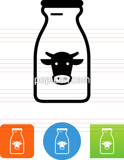 Milk Bottle With Cow Icon