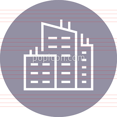 Modern City Buildings Outline Icon
