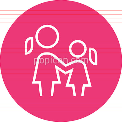 Mom And Daughter Outline Icon
