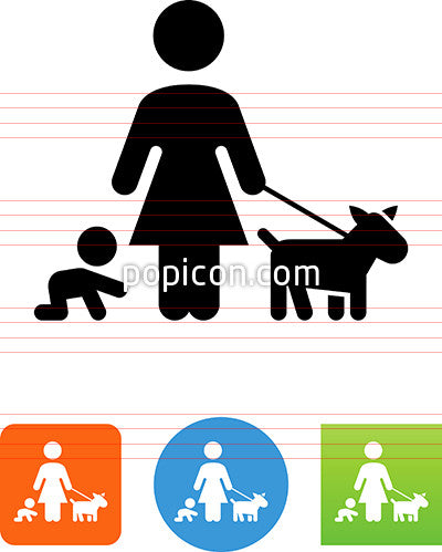 Mom With Baby And Dog Icon
