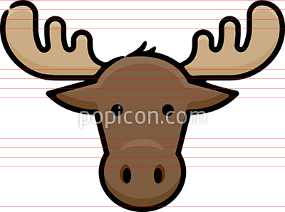 Moose Head Hand Drawn Icon