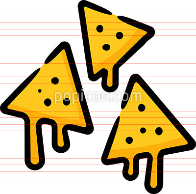 Nachos Chips Cheese Hand Drawn Icon