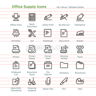 Office Supply Icons - Outline