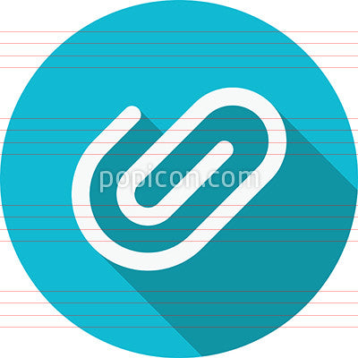 Paperclip Attachment Icon On Background - Flat Color Series