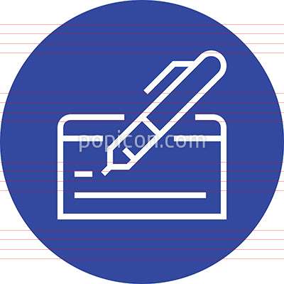 Pay By Check Outline Icon
