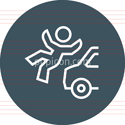 Pedestrian Auto Accident Outline Icon