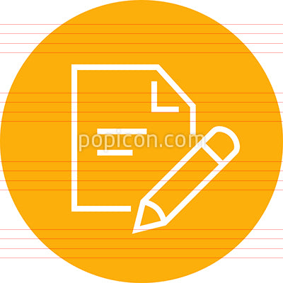 Pencil And Paper Outline Icon