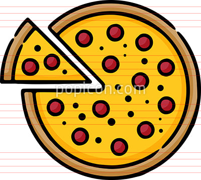 Pepperoni Pizza Hand Drawn Icon