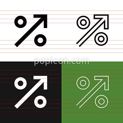 Percent Up Icon Set