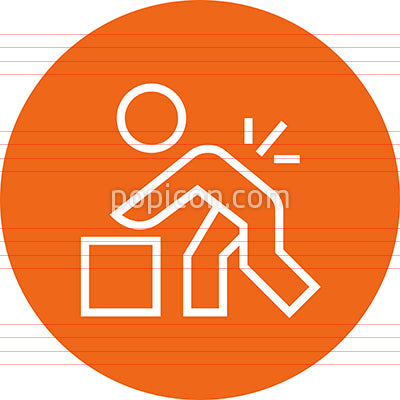 Person Lifting Heavy Object Outline Icon