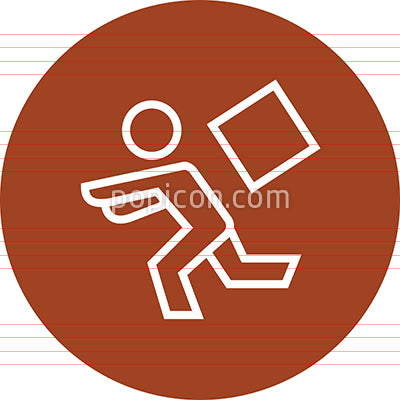 Person Running From Falling Object Outline Icon