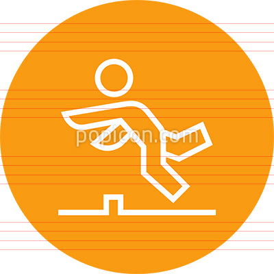 Person Tripping Over Obstacle Outline Icon