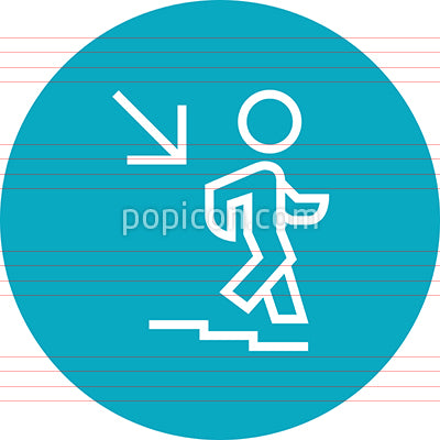 Person Walking Down Stairs Outline Icon