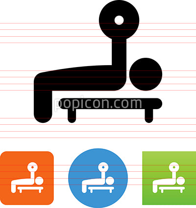 Person Working Out With Bench Press Icon