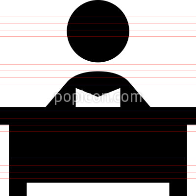 Person At Desk Reading Vector Icon