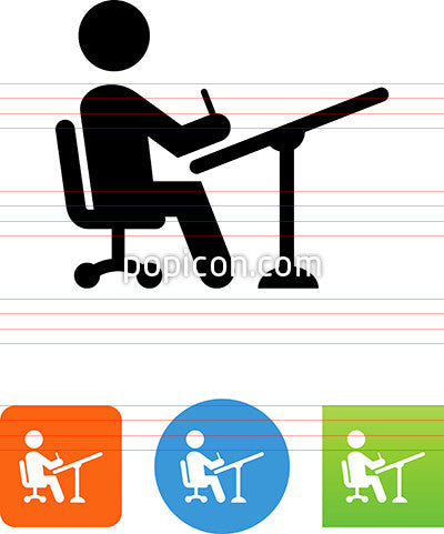 Person At Drawing Table Icon