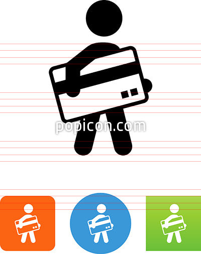 Person Carrying A Credit Card Icon Popicon