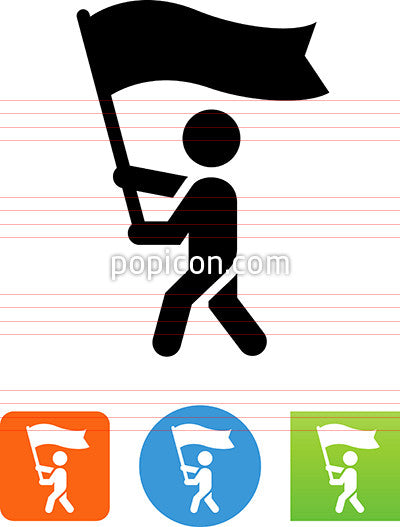 Person Carrying A Flag Icon