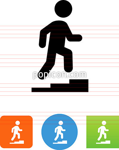 Person Climbing Up Stairway Icon