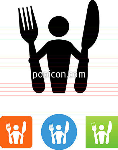 Person Holding Fork And Knife Icon