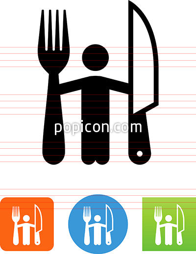 Person Holding Fork And Steak Knife Icon
