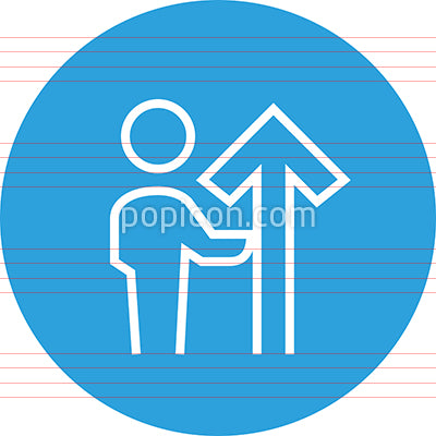 Person Holding Upwards Arrow Outline Icon