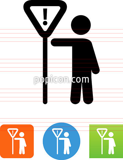 Person Holding Yield Sign Icon