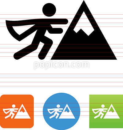 Person Moving Mountains Vector Icon