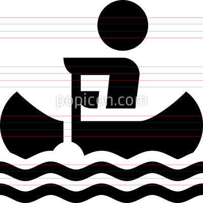Person Paddling A Canoe Icon