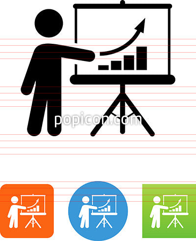 Person Pointing To Easel With Graph Icon