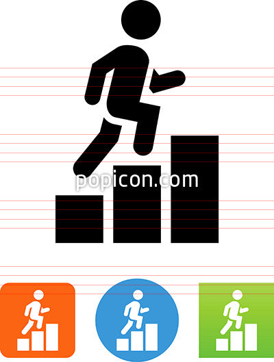 Person Running Up A Graph Icon