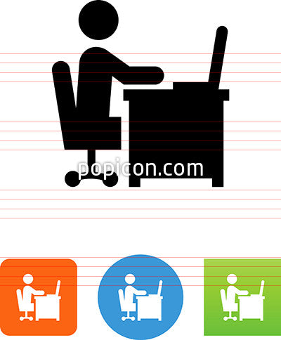 Person Sitting At Desk Working On A Laptop Computer Icon