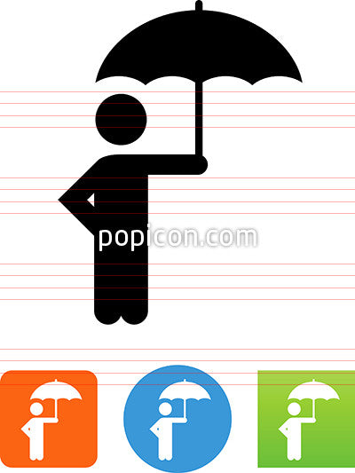 Person Standing Under An Umbrella Icon