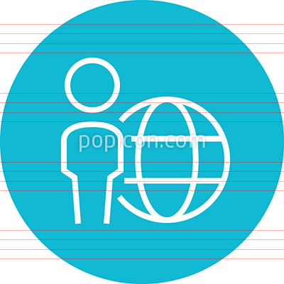 Person Standing With Globe Outline Icon