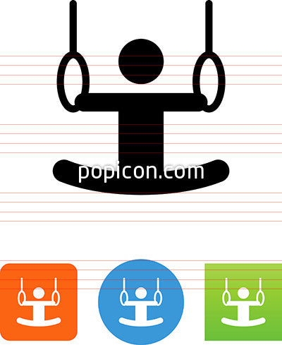 Person Swinging On Rings At Gym Icon