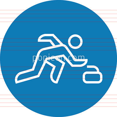 Person Throwing Curling Stone Outline Icon