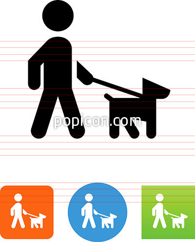 Person Walking The Dog Icon