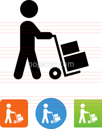 Person Walking With Hand Truck Icon
