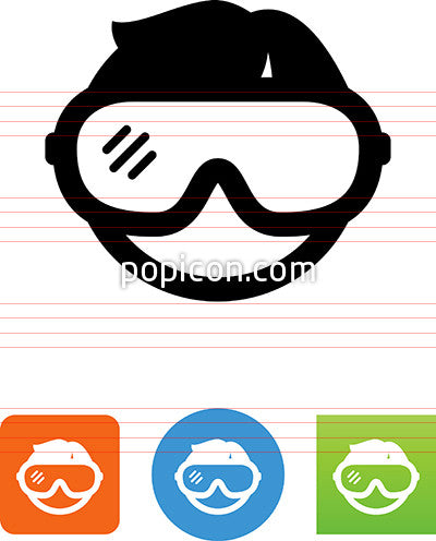 Person Wearing Safety Goggles Icon