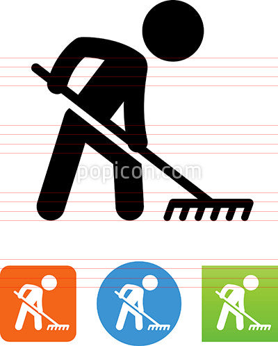 Person With A Rake Icon