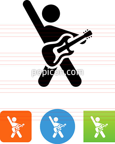 Person With Hand Raised Holding Electric Guitar Icon